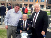 "Ken Whillans Square celebrating the National Day of Honour with Regional Councillor John Sanderson and George ""Posty"" Burrows who celebrates his 96th birthday this year on June13th ."