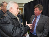 Nick Giovenco chats with Councillor Doug Whillans at the New Year's Levee held at Brampton's city hall on Saturday January
